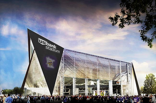 An artistic rendering of what the future U.S. Bank Stadium being built for the MN Vikings will look like.